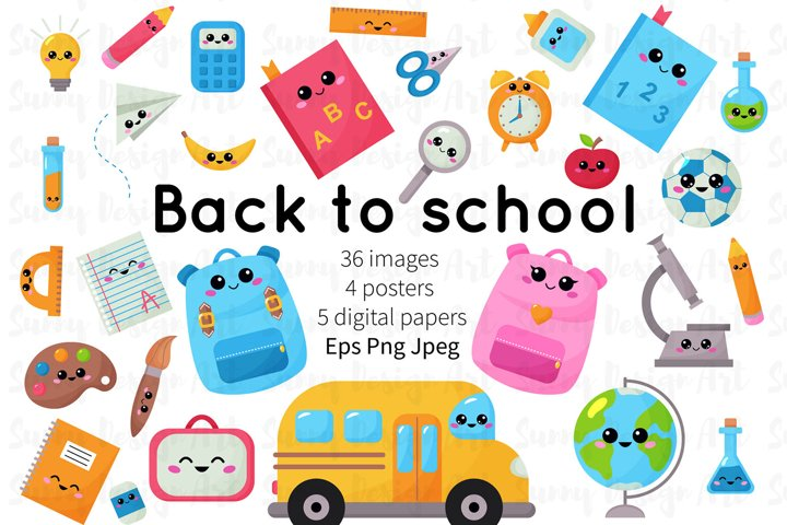 Back to School Kawaii clipart