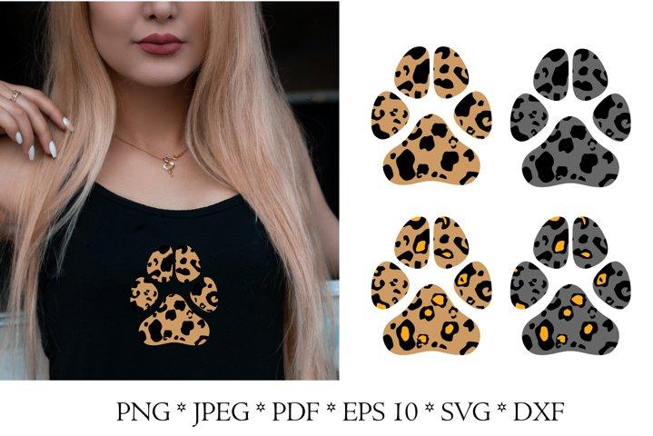 Dog paw SVG. Leopard print SVG