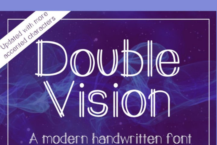 Double Vision- A modern handwritten print font example 6