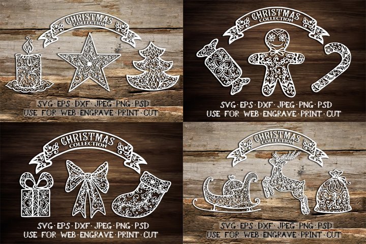 Christmas element templates | SVG DXF EPS PSD PNG JPEG