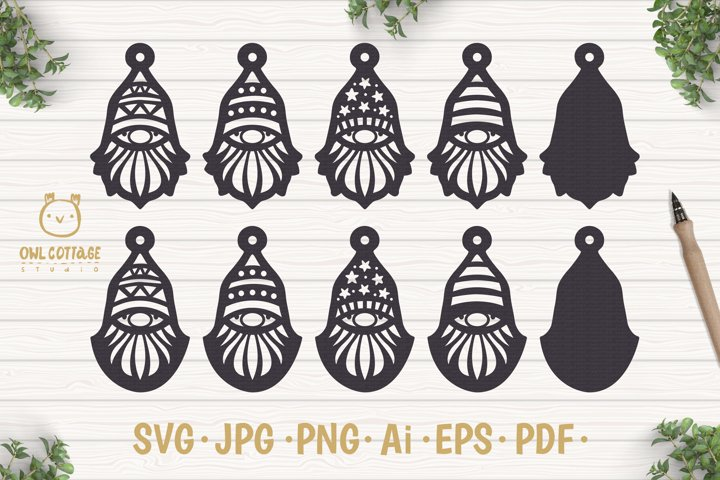 Gnomes Earrins Template Set SVG, Gnome Clipart, Tomte example