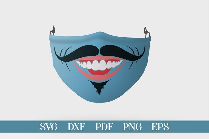 Funny Face Mask SVG, Smile Face Mask, Face Mask SVG DXF PNG
