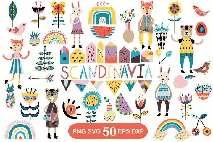 Scandinavian style clipart. Norwegian folk art clip art.