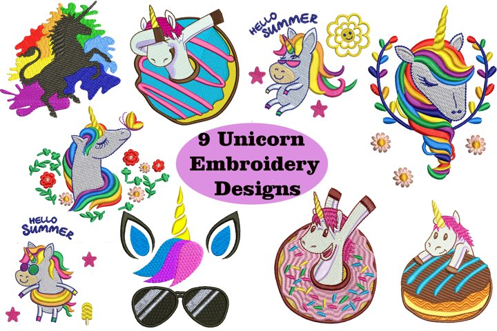 9 Unicorn Machine Embroidery Designs