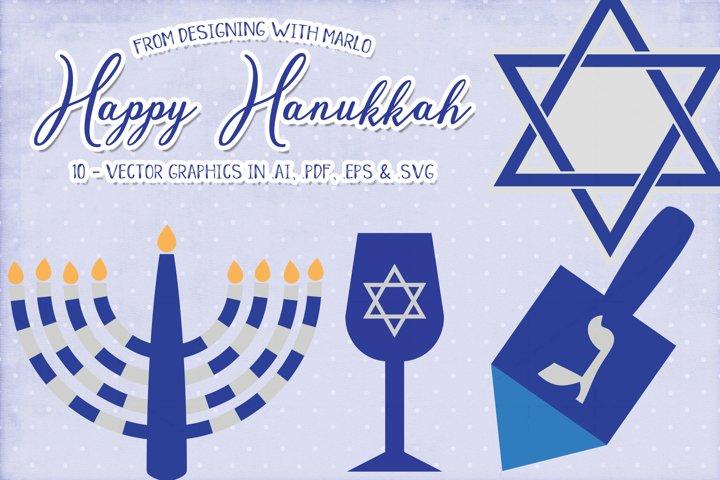 Happy Hanukkah Vector Graphics