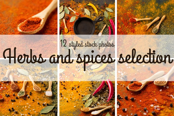 Spices and herbs on dark background