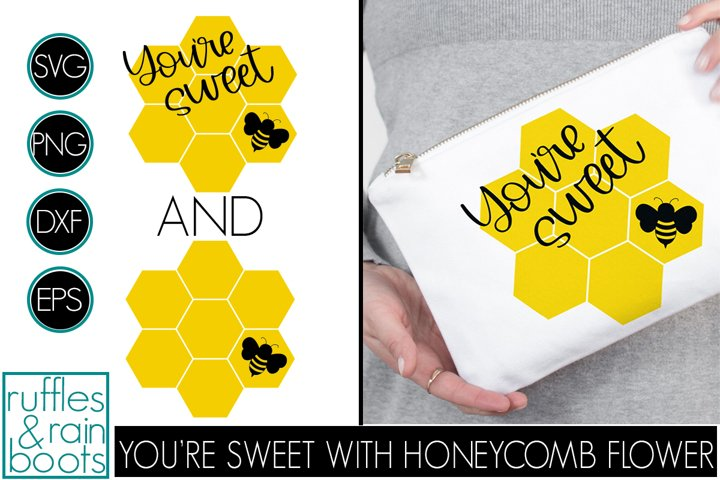 Youre Sweet Bee SVG with Honeycomb Flower Hexagons