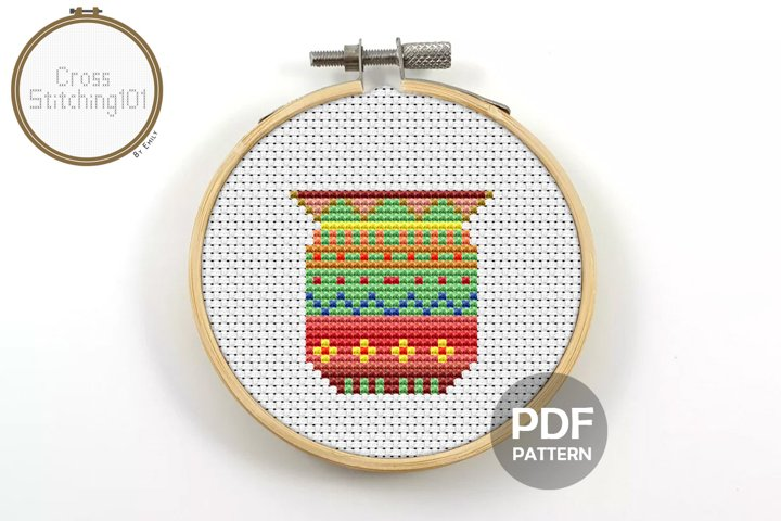 Flower Pot Cross Stitch Pattern - Instant Download PDF