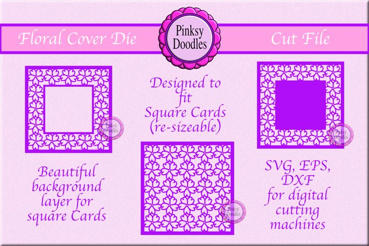 Floral Cover die cut for card makers- Square