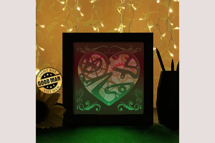 Heart Gear 3 3D Paper Cutting Light Box - Shadow Box