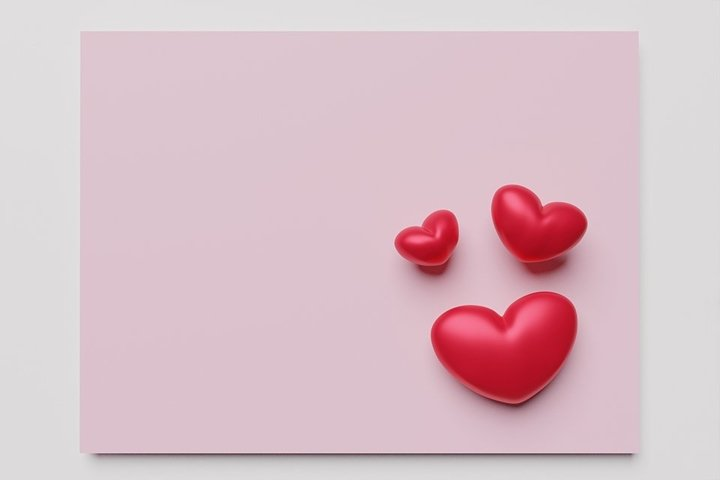 Valentines day mockup. Mock up heart on a pink background.