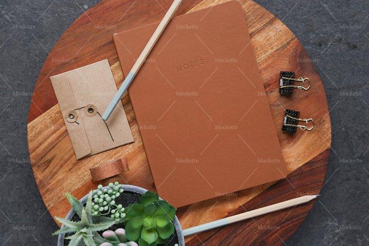 Corporate Stationery Mockup - Wood & Leather