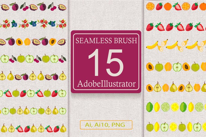 Berry and fruit seamless brush