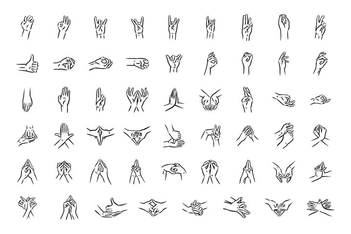 Mudras icon set. Hand spirituality hindu yoga of fingers