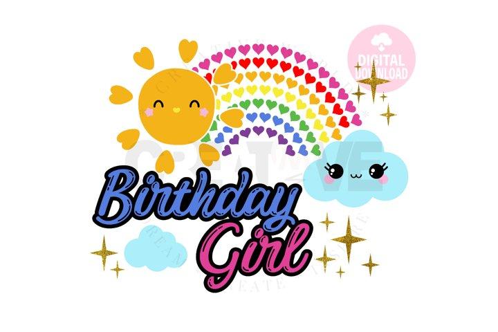 Rainbow Birthday Girl svg | Rainbow Birthday svg | Birthday