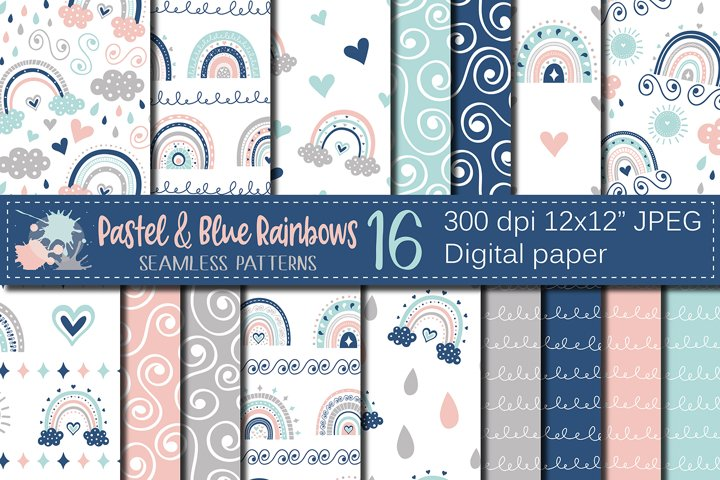Pastel and blue rainbows digital paper / seamless patterns