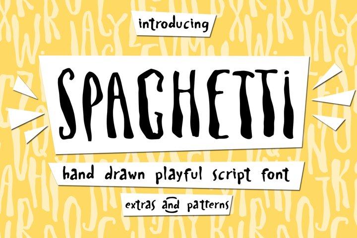 Spaghetti playful script font & Extras