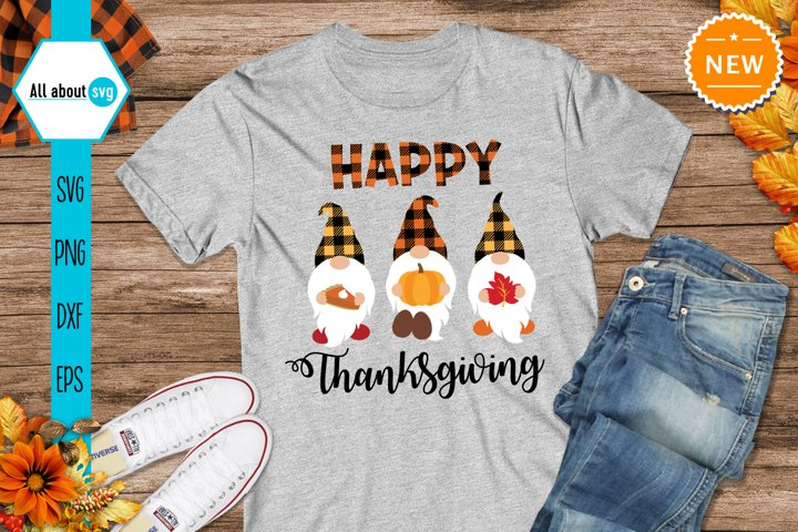 Happy Thanksgiving Svg, Buffalo Plaid Thanksgiving Svg
