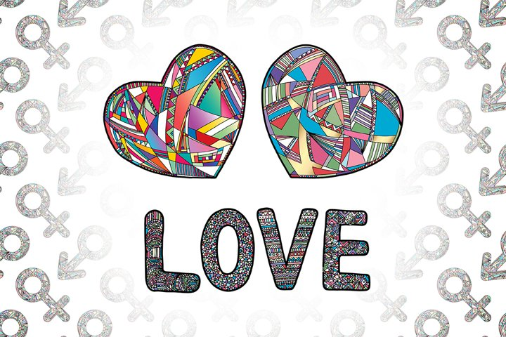 Hearts and gender symbols. LOVE vector collection.