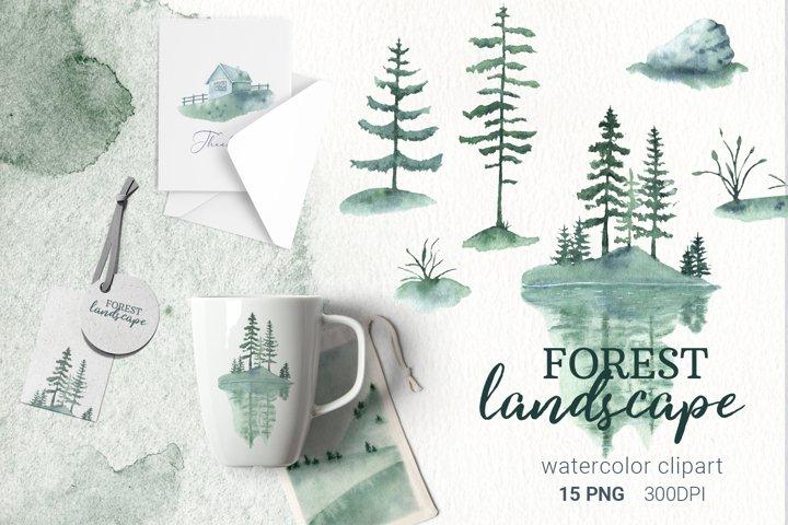 Watercolor landscape, rural landscape clipart, forest tree