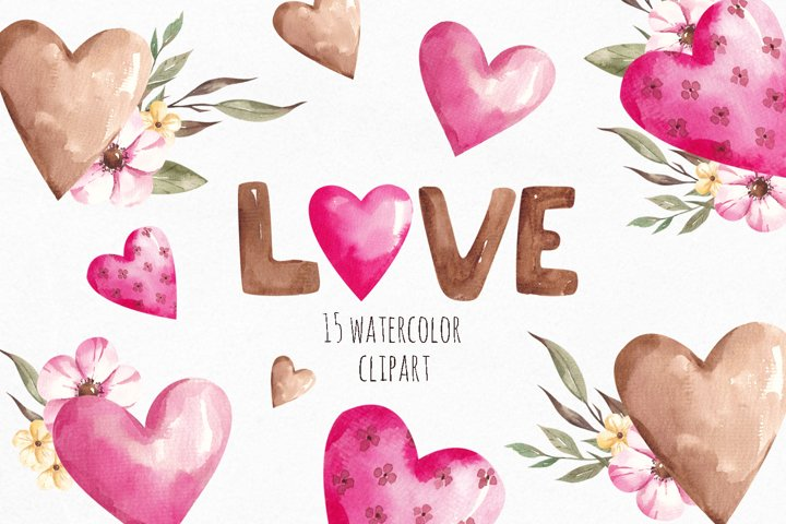 Watercolor Flowers Heart Clipart