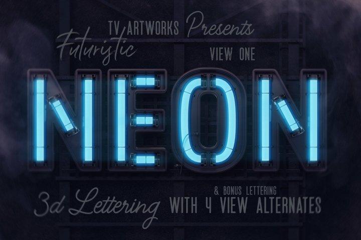 Futuristic Neon 3D Lettering