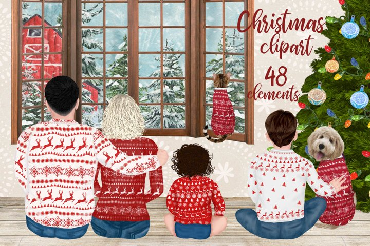 Christmas Family Clipart Matching Sweaters Parents with kids