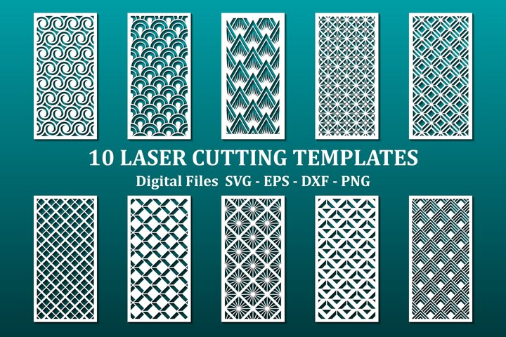 10 laser cut panels, files for cnc. Modern geometric pattern
