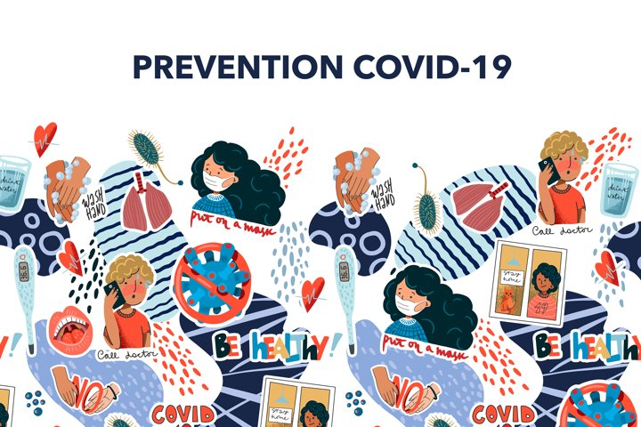 Coronavirus prevention reminder stickers.