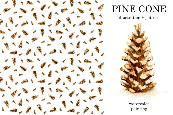 Pine cone watercolor illustration and seamless pattern