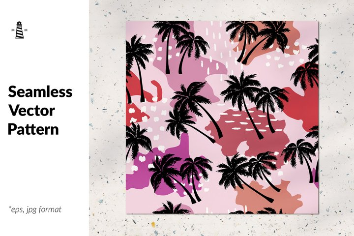 Abstract palm trees seamless pattern