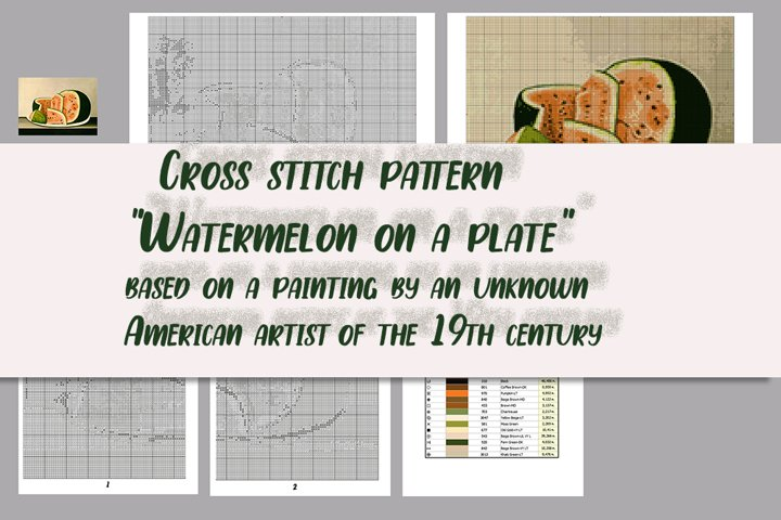 Cross stitch pattern Watermelon on a plate