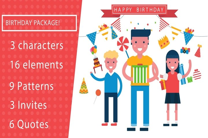 Its a birthday party vector illustration pack