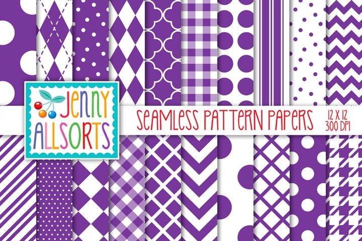 Purple & White Seamless Digital Repeat Geometric Patterns