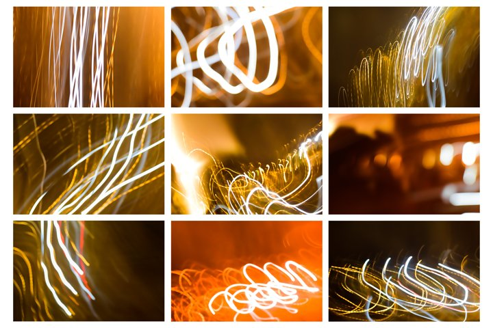 Set of 9 images of background lights in motion