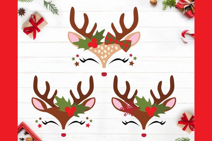 Reindeer Face SVG, Reindeer SVG, Baby Deer Face SVG, Doe Fac