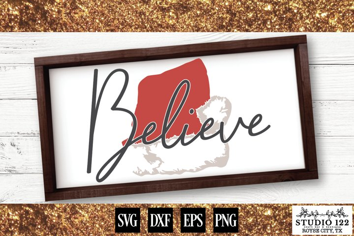 Believe with Santa Hat Christmas Sign Design