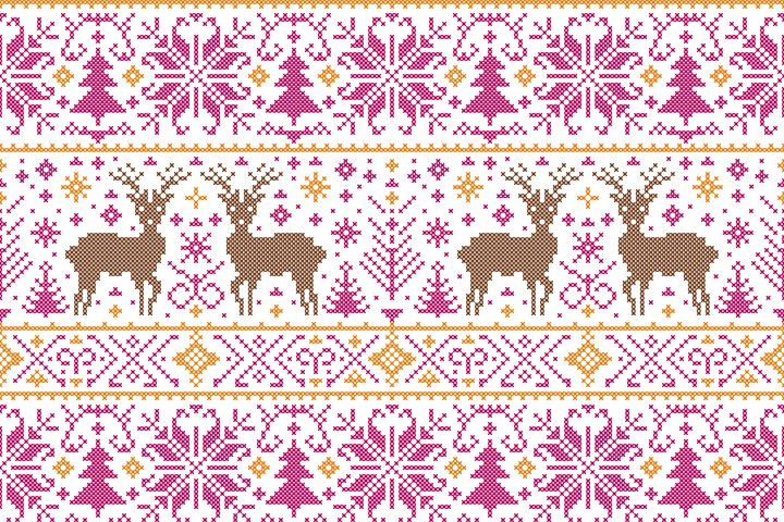 pattern in the cross stitching style of embroidery