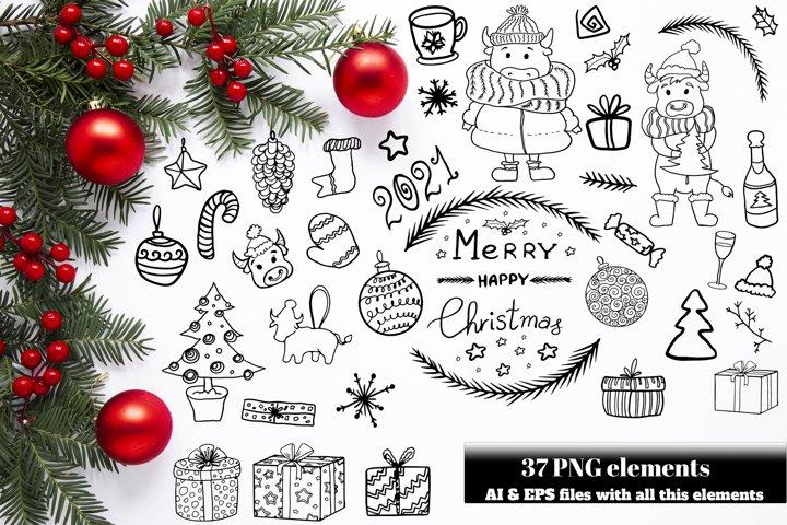Merry Christmas Scandinavian Set. Vector Christmas doodles.