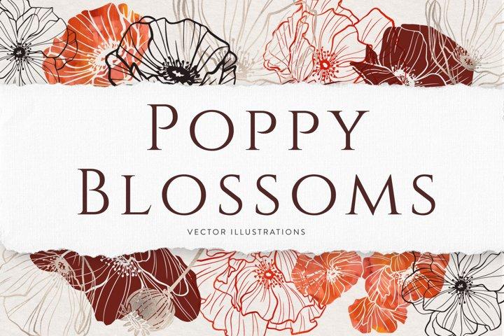 Poppy Blossom Vector Illustrations