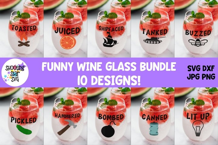 Funny Wine Glass SVG Bundle - Wine Glass Quotes