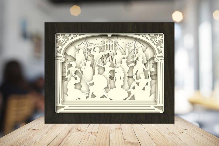 THE OLYMPIAN GODS 3D Paper Cut Light Box - Shadow box example 5