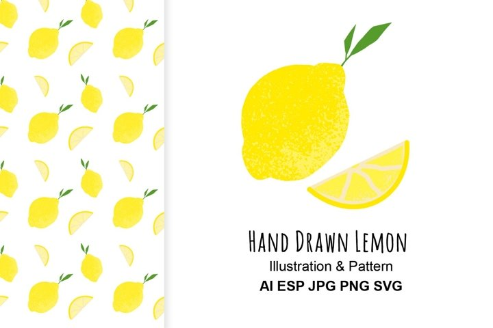 Lemon illustration and pattern.