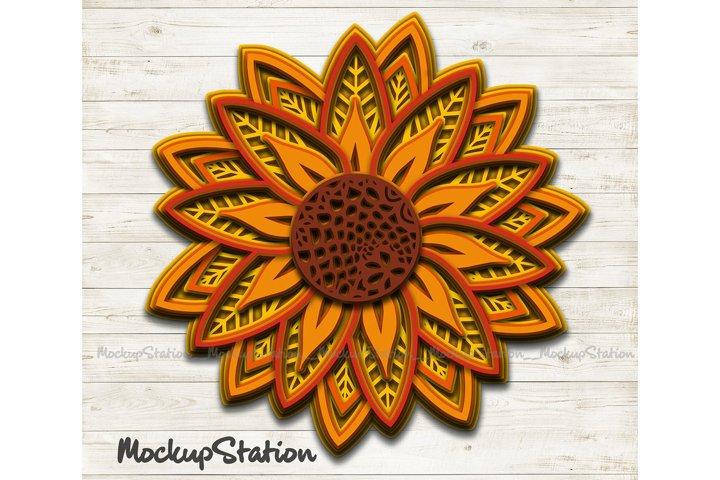 Sunflower 3D Mandala SVG | Layered Flower Cut File Vector