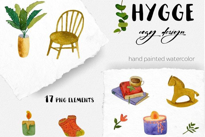 Hygge watercolor clip art Cozy house Scandnavian Christmas