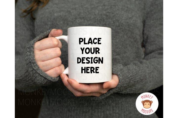 Woman Holding Mug Mockup - Coffee Mug Mockup - Stock Photo