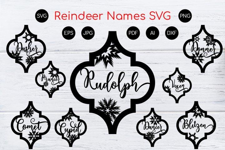 Arabesque Tile Reindeer Names Christmas Ornament. SVG Cut