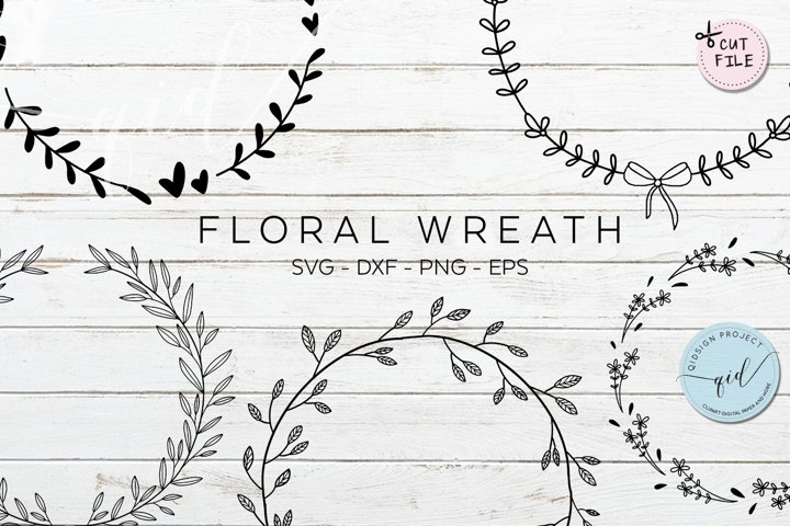 Floral Wreath Cut files SVG DXF PNG EPS