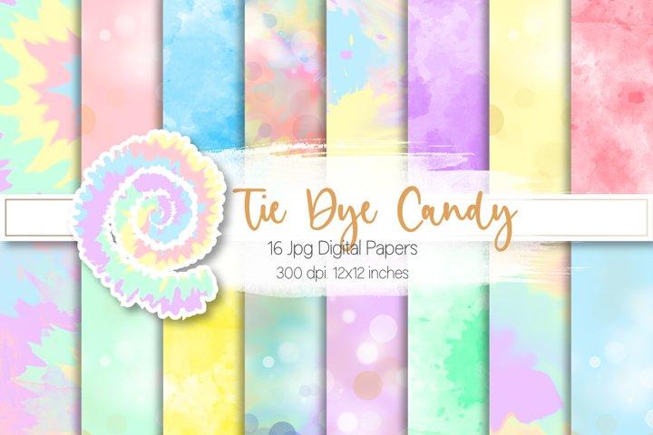 Tie Dye Candy Colors Digital Paper Set
