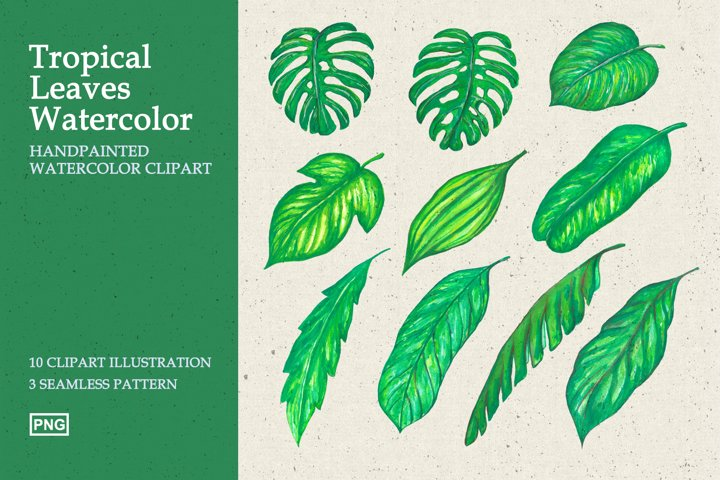 Tropical Leaves Watercolor Clipart and Patterns